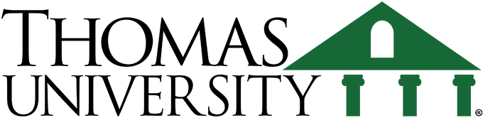A logo of Thomas University for our ranking of 30 Great Small Colleges for a Teaching Degree