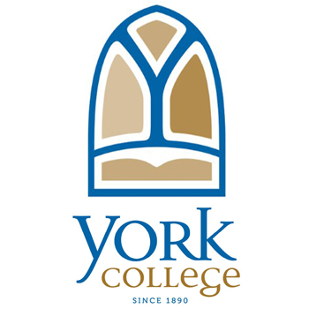 A logo of York College for our ranking of 30 Great Small Colleges for a Teaching Degree