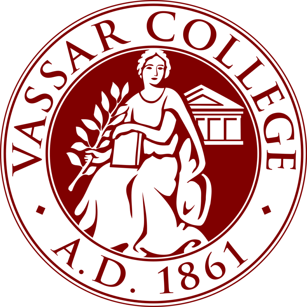 A logo of Vassar College for our ranking of 30 Great Small Colleges for STEM Degrees